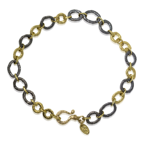 Open pebble link medium bracelet
