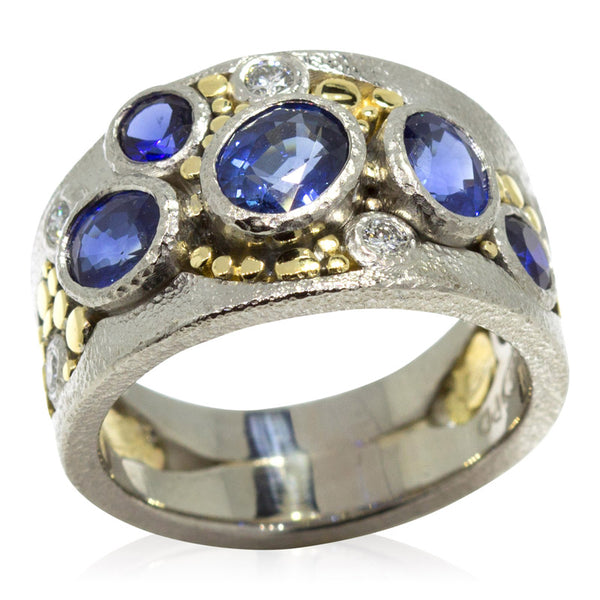 Custom River Pebbles Ring with sapphires and diamonds top