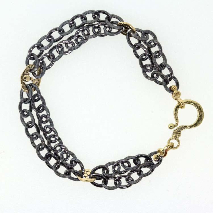 Oxidized Silver Double Chain Bracelet with Small Gold Open Pebbles