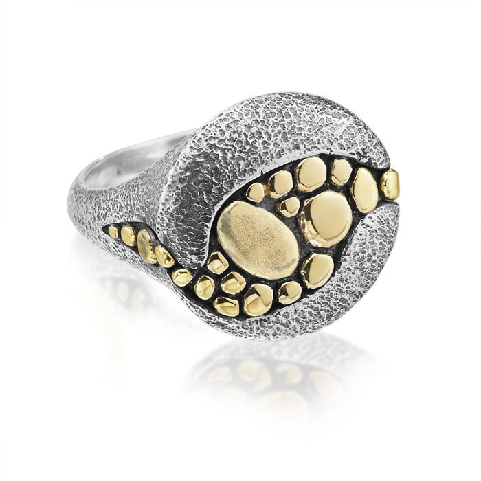 Riverbed Ring in Sterling and 18k