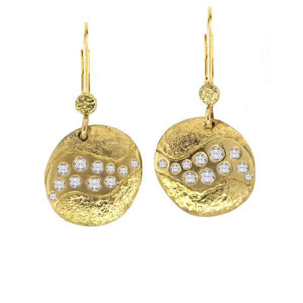 Riverbed Dangle Earrings with White Diamonds in 18k Gold