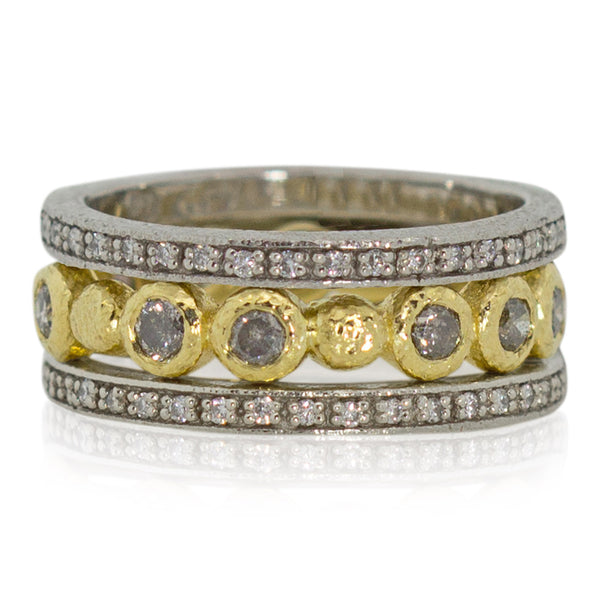 Pebbles and diamonds band with two eternity bands