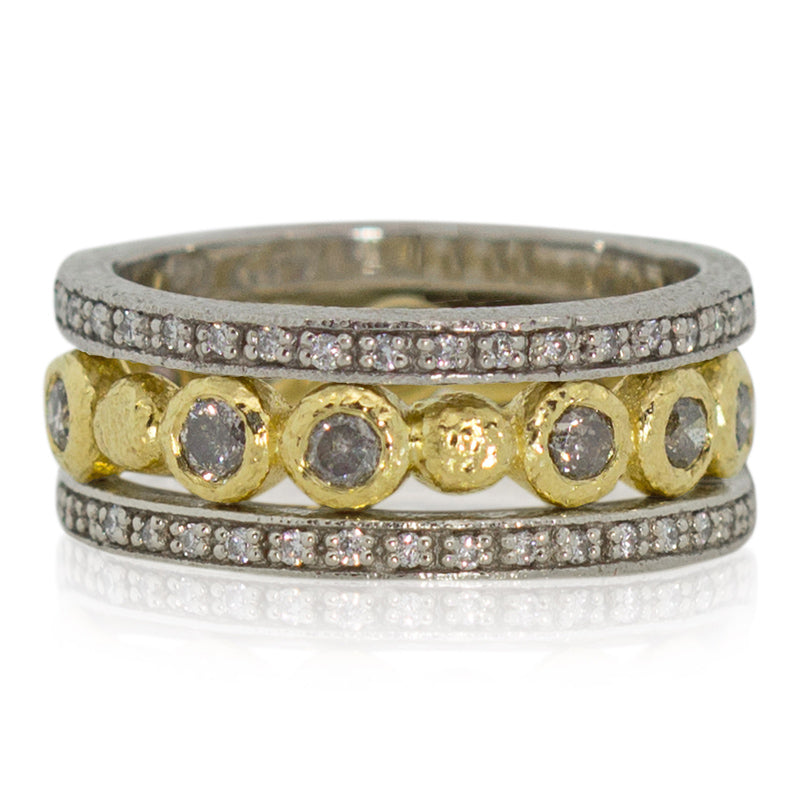 Narrow eternity band stacked with Diamonds and Pebbles band