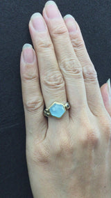 Delicate Triple Band Ring with Hexagonal Milky Aquamarine