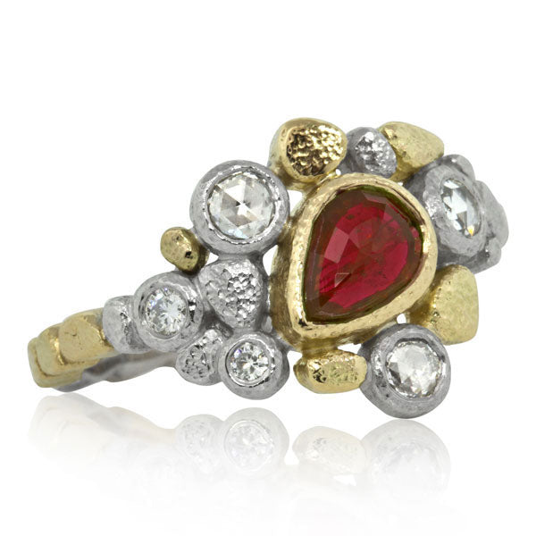 Dancing Diamonds Ring with Pear Shaped Ruby