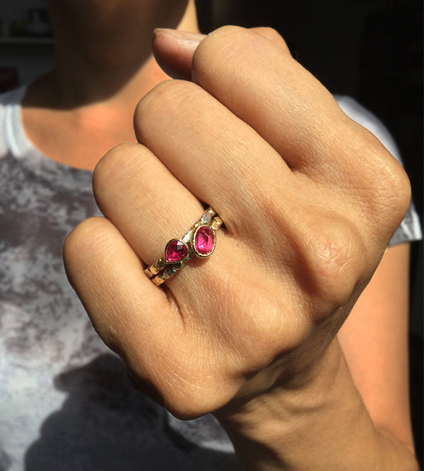 Skinny Pebbles Double Ruby Ring Set on hand