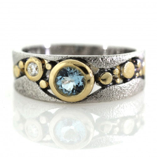 River Pebbles Ring with Aquamarine and Diamond