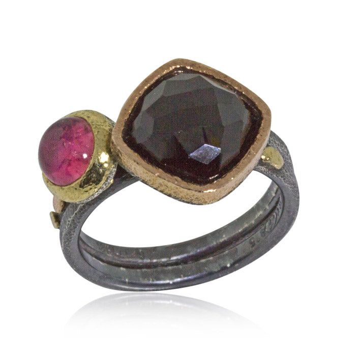 Round Pink Tourmaline Black Spinel Stacking Rings-2mm