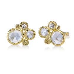 diamond cluster stud earring small gold pebbles