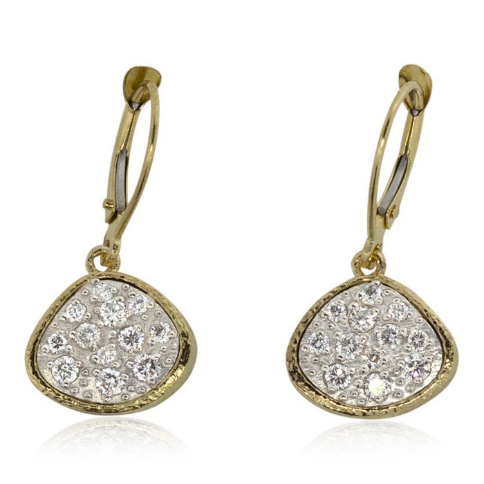Sparkling Pebble Pave Dangle Earrings