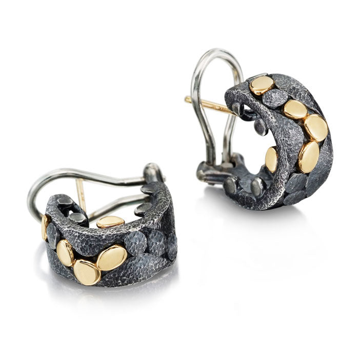 River Pebbles Cuff Earrings in Oxidized Sterling and 18k