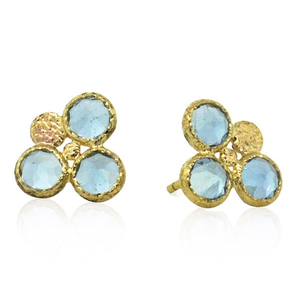 Trio stud aquamarine earrings