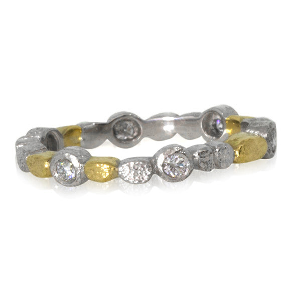 Skinny Pebbles Band in Palladium and 18k yellow gold with diamonds