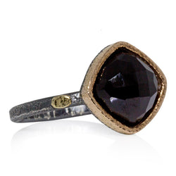 Textured Pebbles Skinny Ring with Large Black Spinel