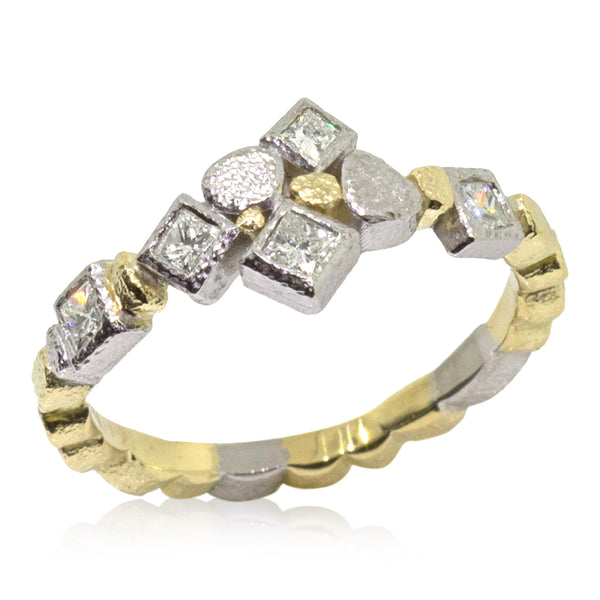 Custom Skinny Pebbles Princess Cut Diamond Ring