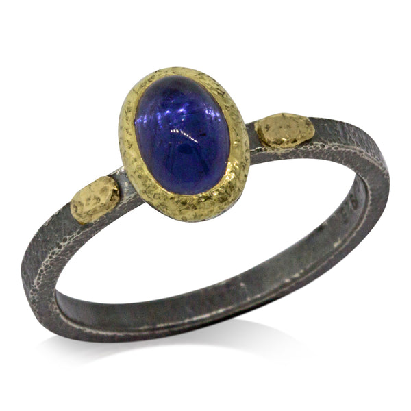 Textured pebbles iolite ring