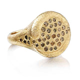 Gold Riverbed Ring with Cognac Diamonds