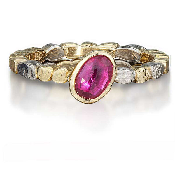 Skinny Pebbles Ring with Diagonal Oval Ruby
