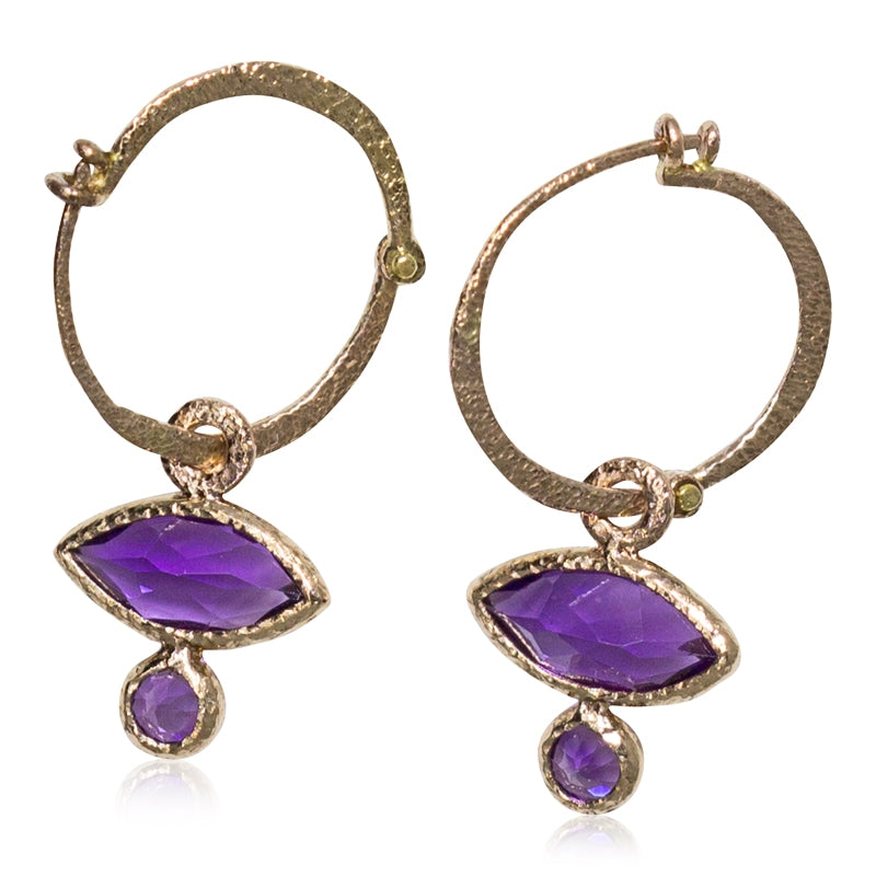 amethyst rose gold hoop earrings