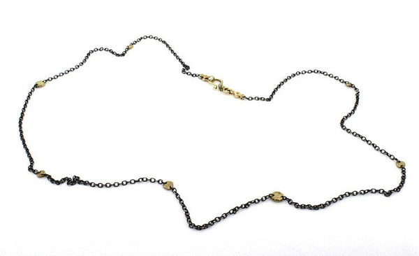 Oxidized Silver Chain Necklace with Gold Pebbles