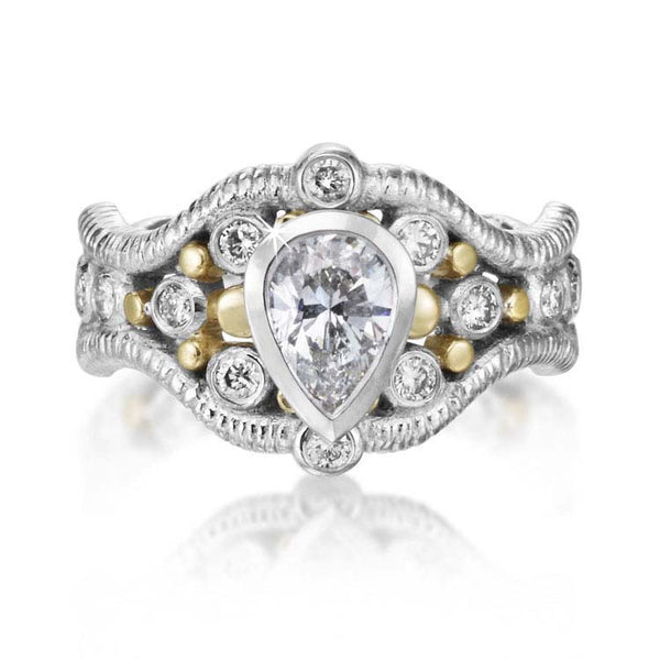 Custom Double Curve Ring with Pear Shaped Diamond