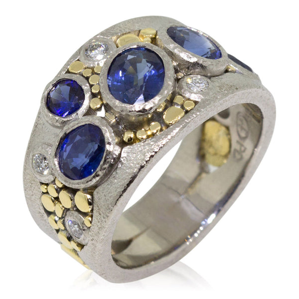 Custom River Pebbles Ring with sapphires and diamonds side