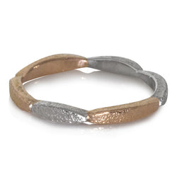 Long Pebbles Band in Palladium and Rose gold