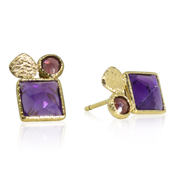 Amethyst and Garnet Stud Earrings