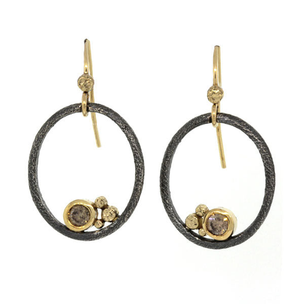 Open Oval Earrings in Hammered Silver and 18k Gold with Cognac Diamonds