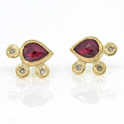 Ruby Pear and Pebble Post Earrings