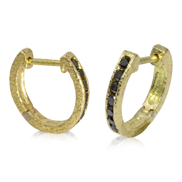 18ky Gold Hinged Hoop Earrings with Black Diamonds