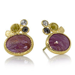 Opaque ruby oval rose cut ear studs with a trio of diamonds