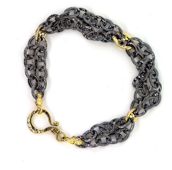 Oxidized Silver Double Chain Bracelet with Gold Open Pebbles Links and Black Diamonds