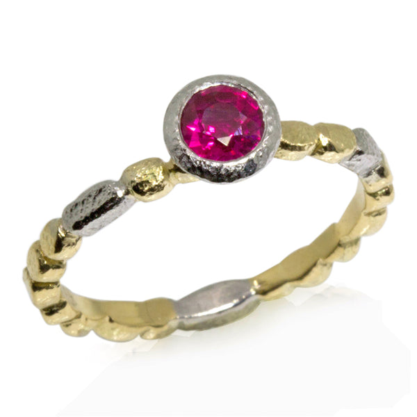 Skinny Pebbles Round Ruby Ring