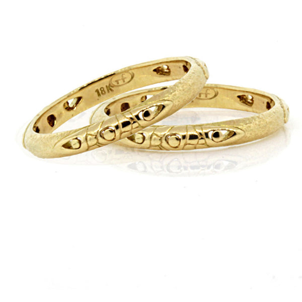 Arabesque Pebbles Wedding Band in 18k Gold