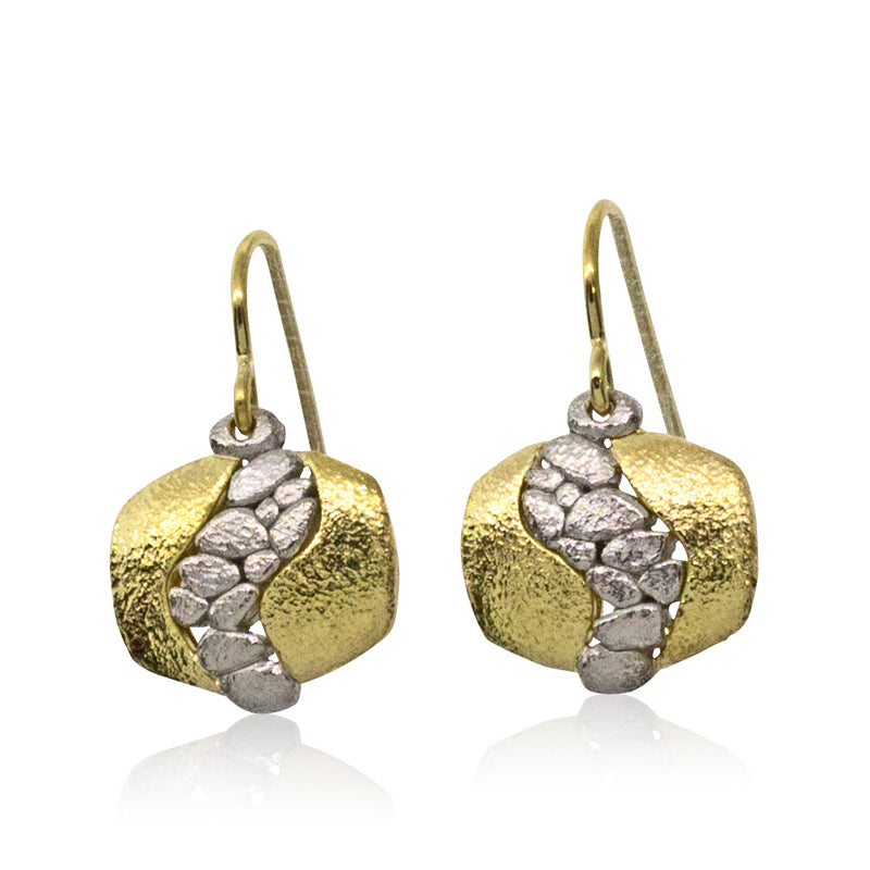 Open River Earrings in palladim and 18k gold