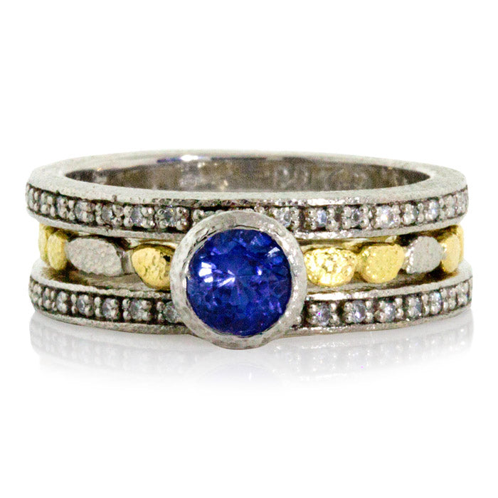 Skinny Pebbles Ring with Round Sapphire eternity bands