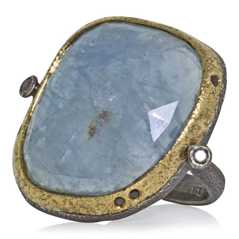 Ancient Pebble Ring with Aquamarine 23