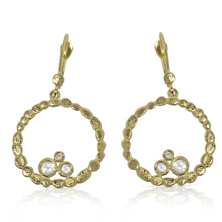 Circle of Pebbles Gold Earrings