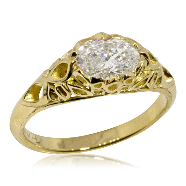 Custom Gold Ring Oval Diamond JM