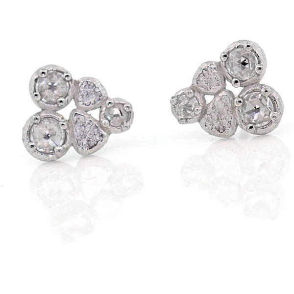 Rock Pile Palladium Post Earrings