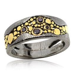 Custom narrow tapered River Pebbles black diamond ring