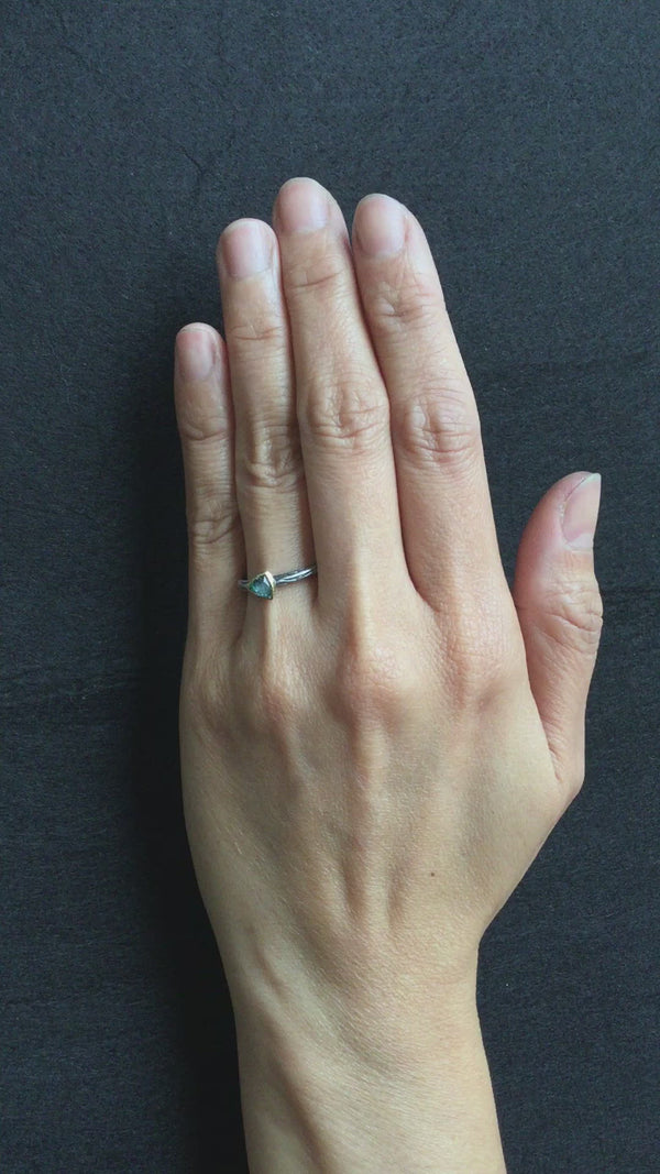 Wood Grain Ring with Free Form Rose Cut Green Tourmaline