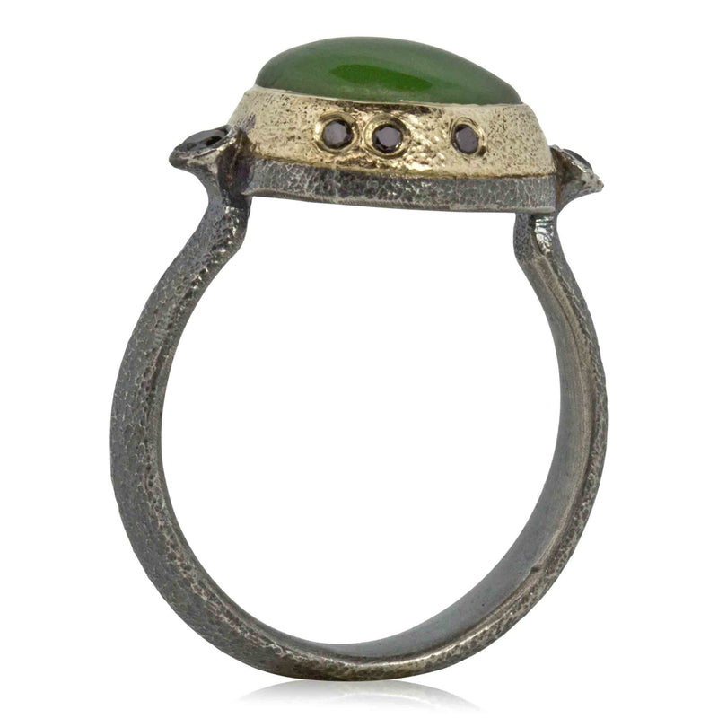 Jade Ring in Silver and Gold with Black Diamonds  side view