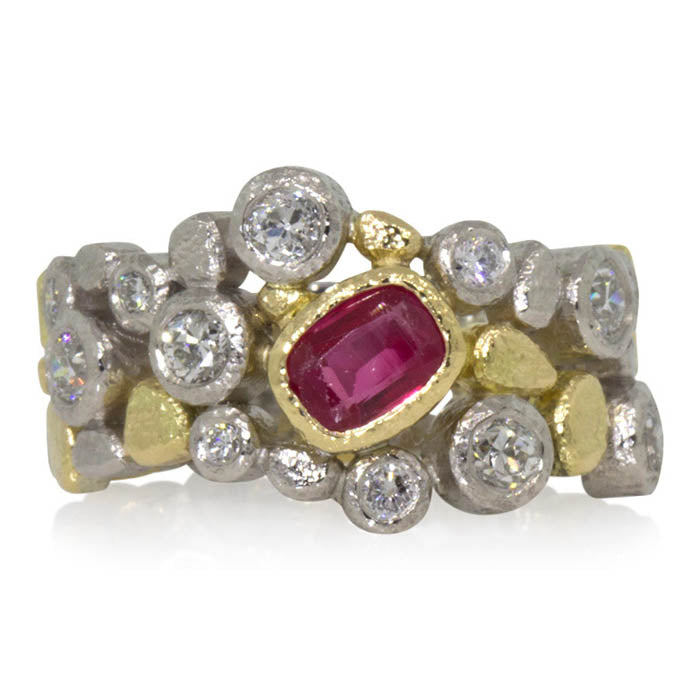 Custom Dancing Diamonds Ruby Ring-MB