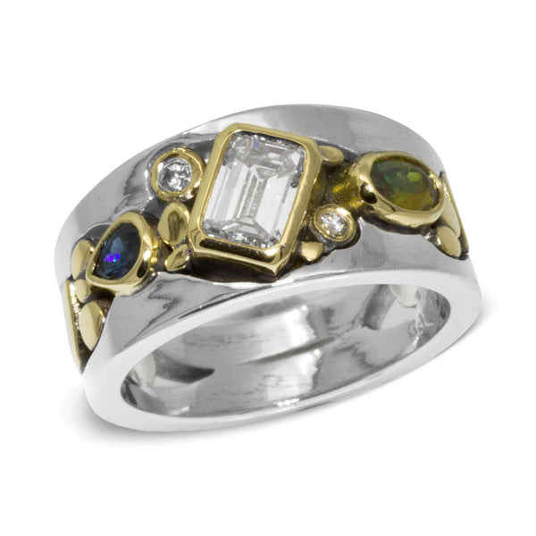 Custom River Pebbles Emerald Cut Diamond Ring