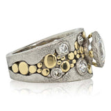 Custom River Pebbles Diamond Ring LG  three q