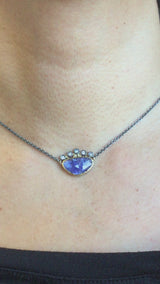Crowned Free-form Tanzanite Pendant