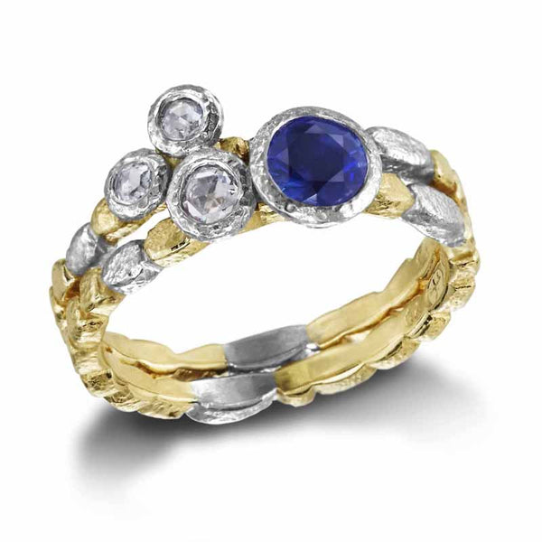 Skinny Pebbles Ring with Round Sapphire stacked diamond trio