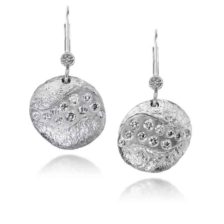 Riverbed Earrings with Grey Diamonds in Palladium
